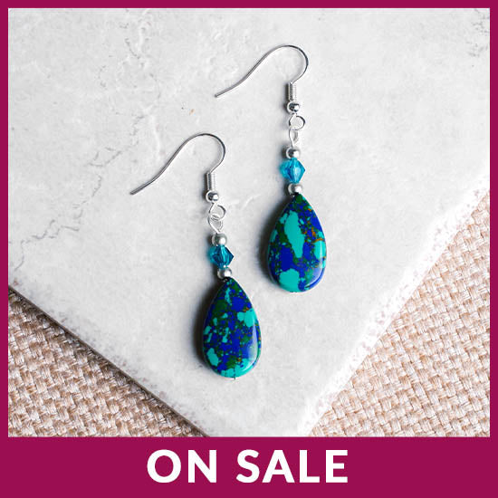 Stone Teardrop Earrings - On Sale