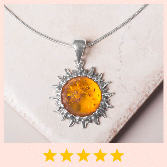 Sunshine of Amber Sterling Necklace - ★★★★★