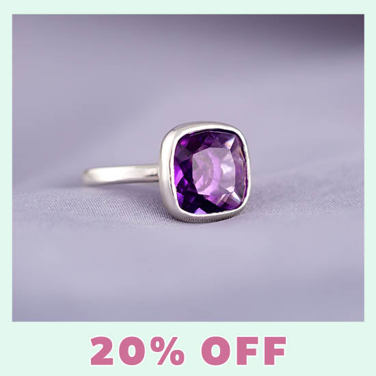 Classic Cut Sterling Amethyst Ring - 20% OFF