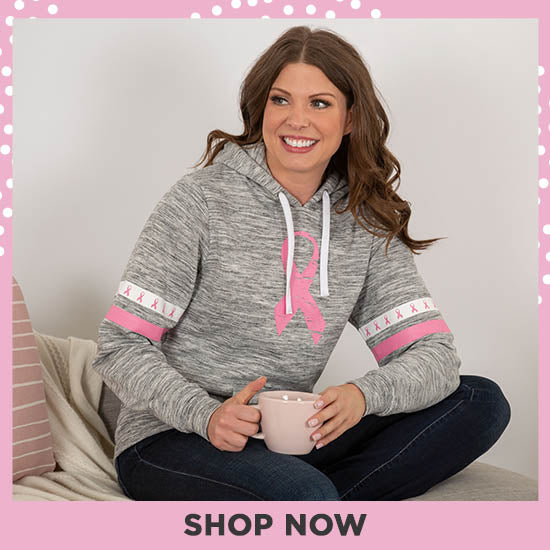 Pink Ribbons & Stripes Heathered Pullover Hoodie - Shop Now