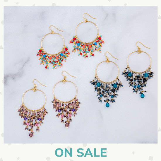 Dazzling Beaded Gold Hoop Earrings - On Sale