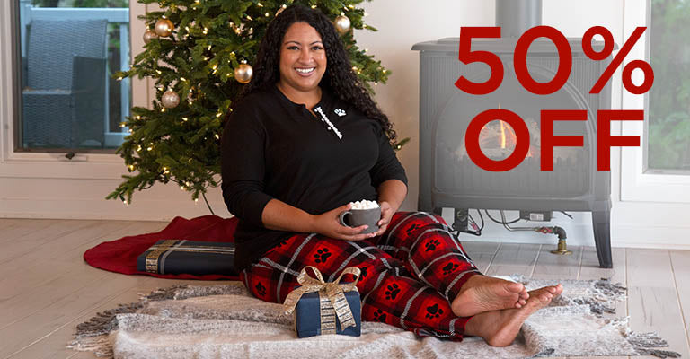 Plaid Paw Flannel Pajama Thermal Set | 50% OFF
