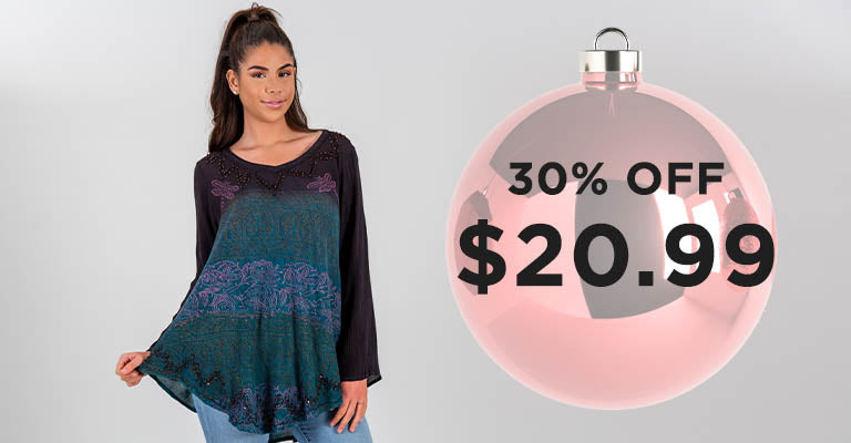 Dragonfly Meadow Long Sleeve Tunic | $20.99 | 30% OFF