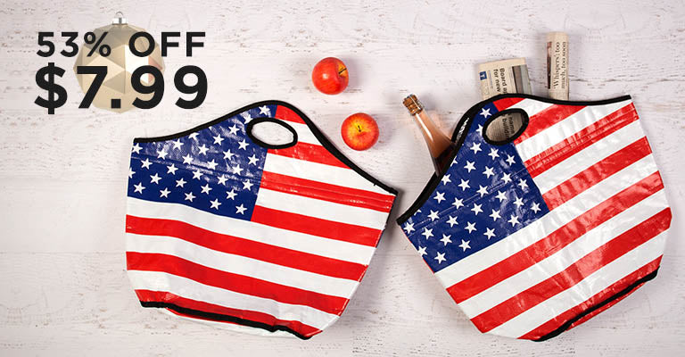 American Flag Insulated Shopping Totes Set | 53% OFF | $7.99