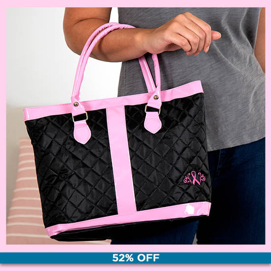 Pink Ribbon Delight Quilted Nylon Tote Bag - 52% OFF