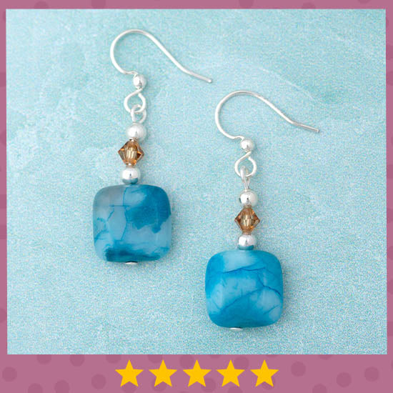 Crazy Lace Agate Earrings - ★★★★★