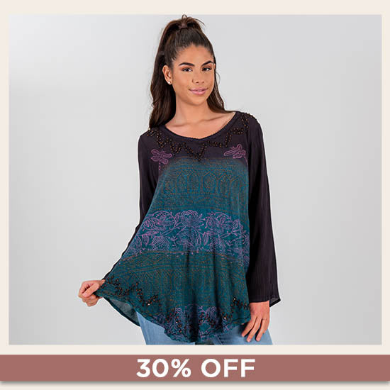 Dragonfly Meadow Long Sleeve Tunic - 30% OFF