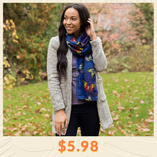 Super Cozy™ Butterfly Flight Scarf - $5.98