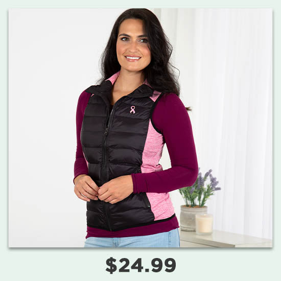 Pink Ribbon Women's Quilted Vest - $24.99