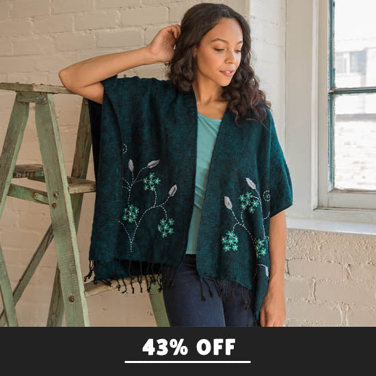 Embroidered Floral Wrap - 43% OFF