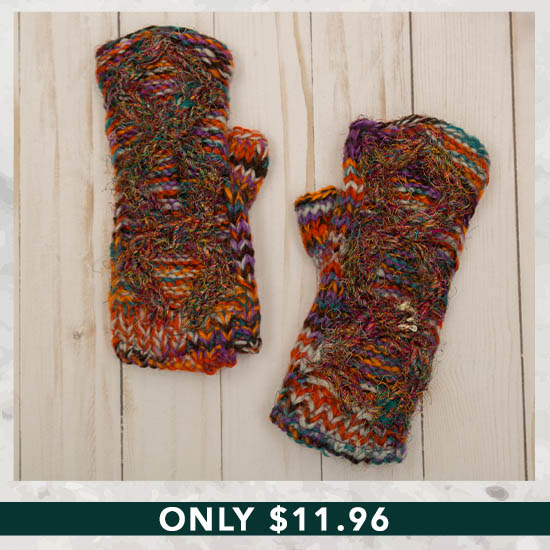 Recycled Silk Fingerless Gloves - Only $11.96