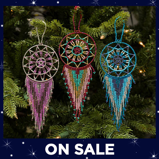 Hand Beaded Dream Catcher Ornament - On Sale