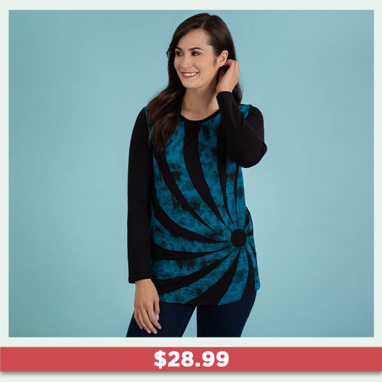 Gone Spiral Long Sleeve Tunic - $28.99