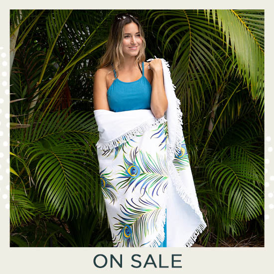 Peacock Feather Round Beach Towel - On Sale