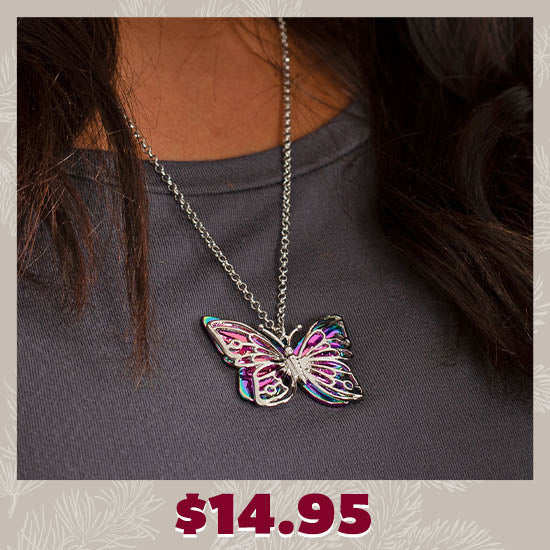 Flying Free Rainbow Butterfly Necklace - $14.95