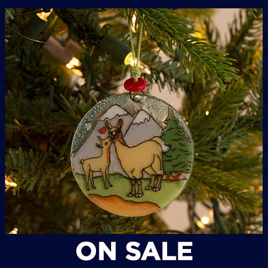 Animal Family Recycled Glass Ornament - On Sale