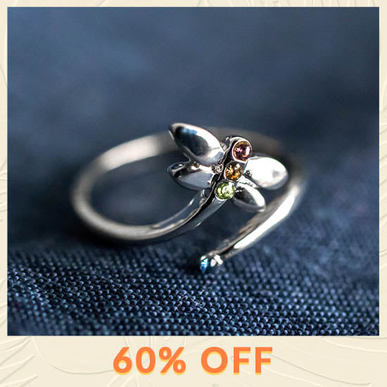 Simple Beauty Dragonfly Adjustable Ring - 60% OFF