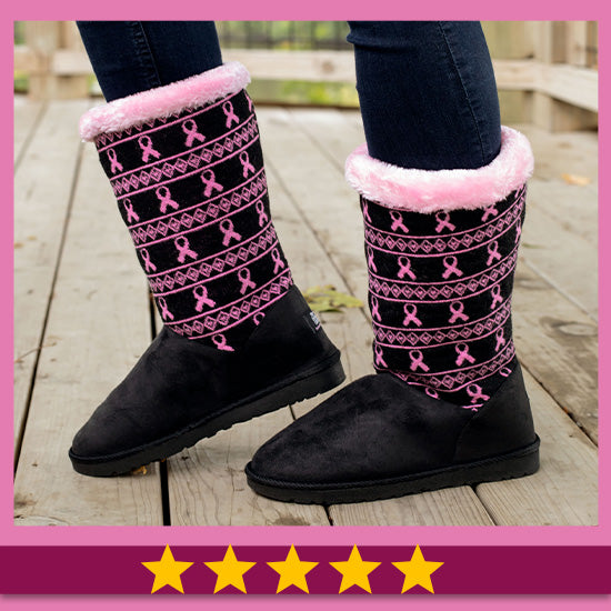 Pink Ribbon Knit Boots for Women - Five Stars