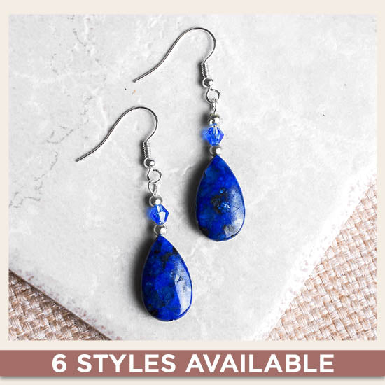 Stone Teardrop Earrings - 6 Styles Available