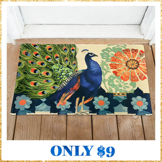 Kashmir Peacock Door Mat - Only $9