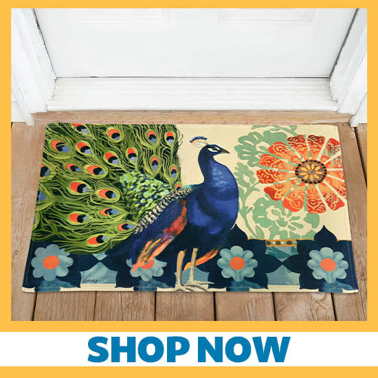 Kashmir Peacock Door Mat