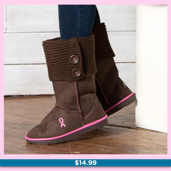 Path To Pink™ Ribbon Sweater Boots - $14.99