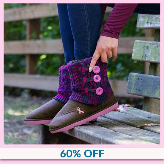 Pink Ribbon Multicolored Knit Mid Rise Boots - 60% OFF