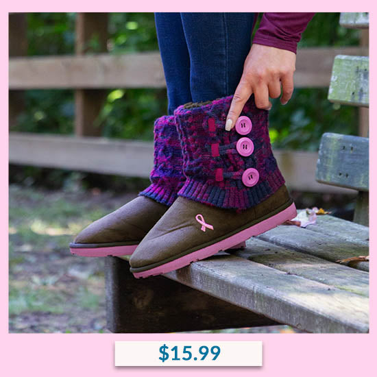 Pink Ribbon Multicolored Mid Rise Women's Knit Boots - $15.99
