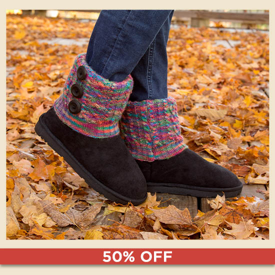 Interchangeable Cable Knit Cuff Boots - 50% OFF