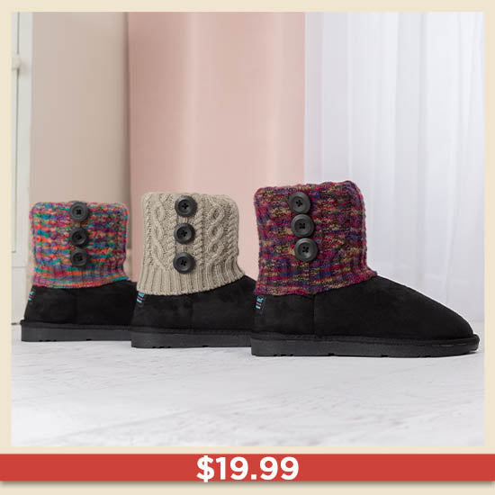 Interchangeable Cable Knit Cuff Boots - $19.99