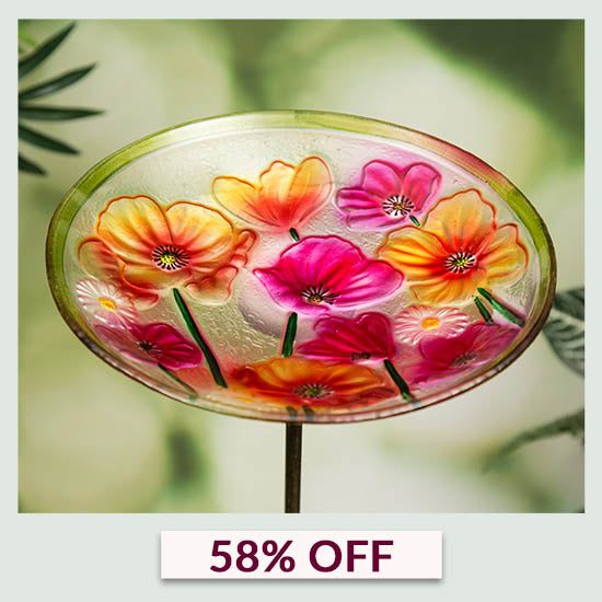 Sunny Garden Glass Bird Bath - 58% OFF