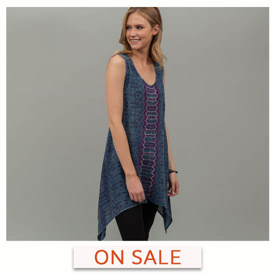 Center Lane Embroidered Sleeveless Tunic - On Sale