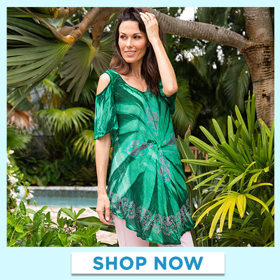 Green Envy Cold Shoulder Tunic