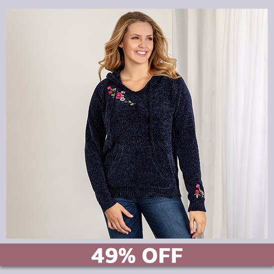 Embroidered Flower Chenille Sweater - 49% OFF