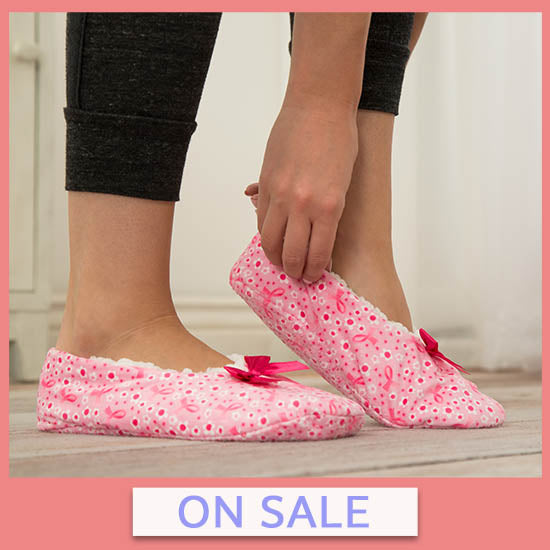 Super Cozy™ Pink Ribbon Slippers - On Sale
