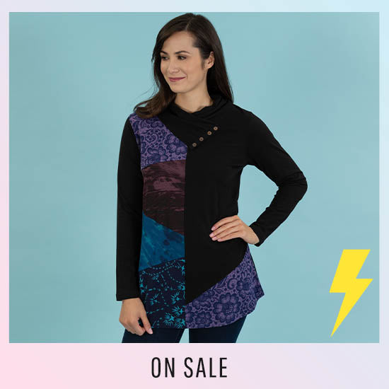 Angled Rays Cowl Neck Tunic - On Sale