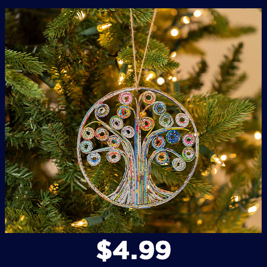 Recycled Magazine Tree of Life Ornament - $4.99