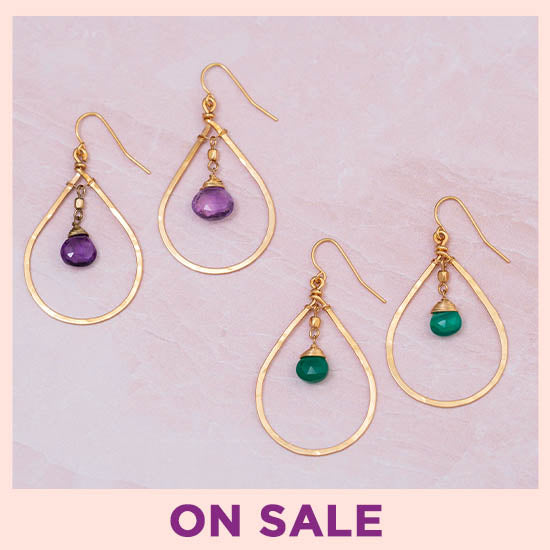 Gemstone Hoop Gold-Filled Earrings - On Sale