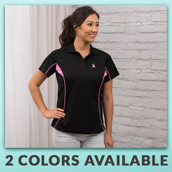 Pink Ribbon Quick-Dry Womens Polo Shirt - 2 Colors Available