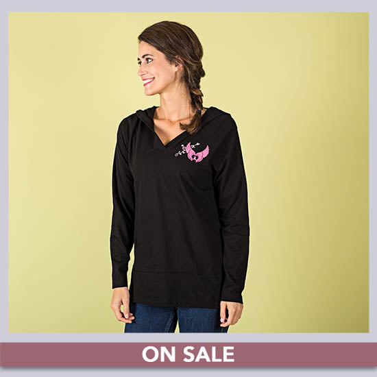 Wings of an Angel Pink Ribbon Hooded Lightweight Tunic - On Sale