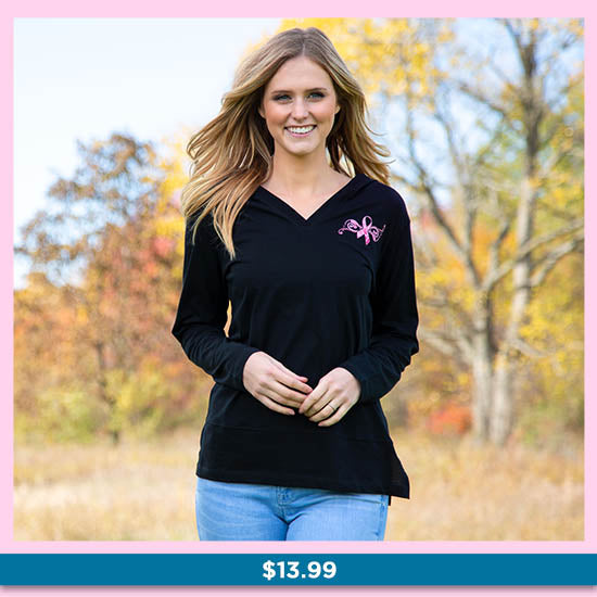 Pink Ribbon Butterfly Lightweight Hooded Tunic - $13.99