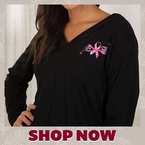 Pink Ribbon Butterfly Lightweight Hooded Tunic - Shop Now