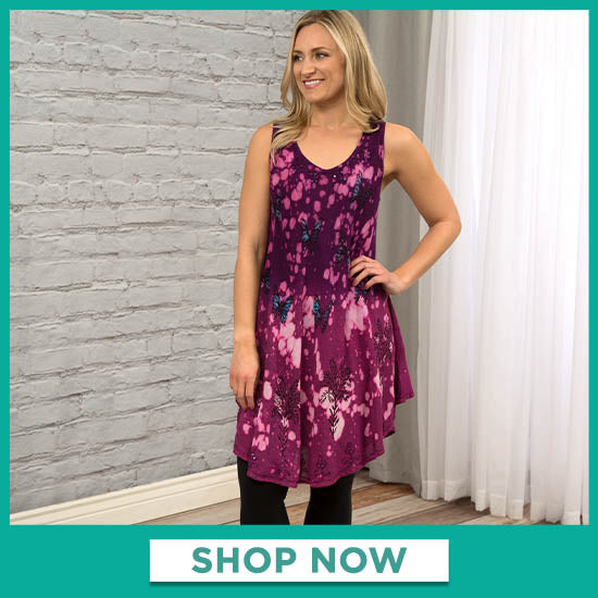 Cosmic Butterfly Sleeveless Tunic - Shop Now