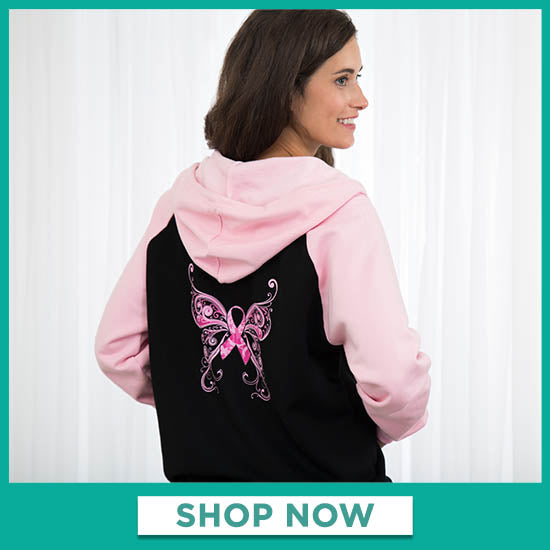 Pink Ribbon Butterfly Two-Toned Zip Hoodie - Shop Now