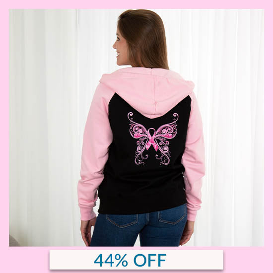 Pink Ribbon Butterfly Two-Toned Zip Hoodie - 44% OFF