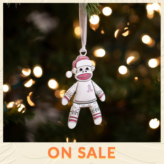 Happy Sock Monkey Pink Ribbon Ornament - On Sale