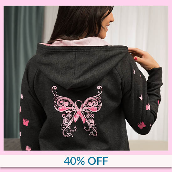 Butterfly Pink Ribbon Zip Hoodie - 40% OFF