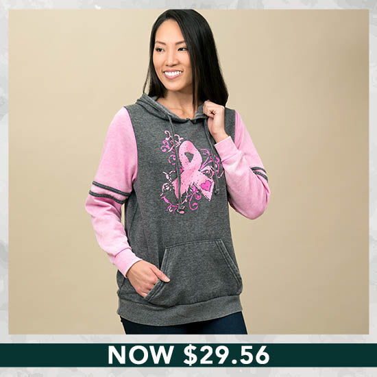 Burnout Pink Ribbon Pullover Hoodie - Now $29.56