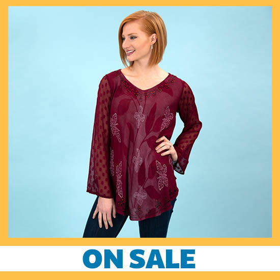 Midnight Butterfly Long Sleeve Tunic