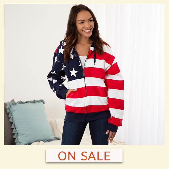 American Flag Sweatshirt - On Sale